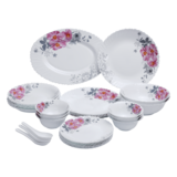 Royalford 33Pcs Opal Ware Dinner Set - Floral Design Plates, Bowls, Spoons   Comfortable Handling   Perfect for Family Everyday Use, & Family Get- Together, Restaurant, Banquet & More (Red & Green)