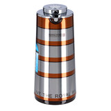 Royalford RF9587 1L Double Wall Golden Figured Vacuum Flask - Portable Heat Insulated Thermos for Keeping Hot/Cold 24 & 36 Hours Retention | Push Button |Coffee, Hot Water, Tea, Beverage | Ideal for Commercial & Outings