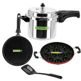 Royalford RF9705 Pressure Cooker 4 In 1 Combo Pack - Portable Evenly Heating Base Cooker, Pan & Tawa Nylon Turner Heat Resistant Handles | Non-Stick Coating | Compatible on Hot Plate, Halogen, Ceramic & Gas