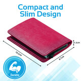 Promate Rfid Blocking Wallet, Ultra Slim Bifold Leather Wallet With Rfid Protection And 2 Currency Pockets - Pink