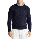 Polo Ralph Lauren Mens Cable Knit Cotton Sweater Navy Blue Small (S)