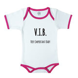 Baby Body Suit With Pink Trim, Print: V.I.B. Very Important Baby. Size: 6-12 Months