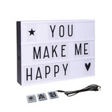 Wownect Message Led Lightbox With Combination Letters, Numbers & Usb Cable Diy Light Box [ A4 Size ] [Create Personalized Messages] [Good Night Lamp] Wall Decoration For Party
