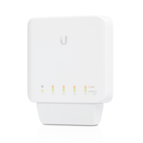 Ubiquiti UniFi Switch Flex5 x GBIT Ethernet Ports, 4 x PoE Ports, 1 x PoE++ Port, Works Indoors and Outdoors, Flexible Mounting Options, Magnetic Backing Connection Speed, Duplex Mode - All OS - White