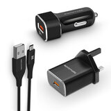 Promate Type-C'Ñ¢ Charging Kit, Qualcomm Certified 3n1 Fast Charger 3.0 Travel and Car Charger Kit with 1.2M USB Type-C - UniGear-QC3.UK