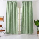 Deals For Less - Window Curtains Green Color, Small Stars Foil Design.