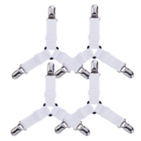 Deals For Less - 4 Pcs Adjustable Bed Corner Holder Fasteners Clips Bed Sheet Fitted Fasteners - White Color