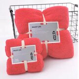 DEALS FOR LESS - 2 Piece Microfiber Bath Towel Set,  Watermelon Red Color