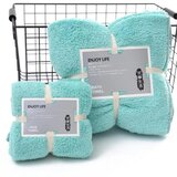 DEALS FOR LESS - 2 Piece Microfiber Bath Towel Set, Aqua Color