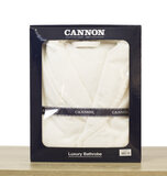 CANNON - Super Soft and Absorbent 100% Cotton Collar Bathrobe S/M - 380GSM - White