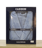 CANNON - Super Soft and Absorbent 100% Cotton Collar Bathrobe S/M - 380GSM - Blue