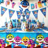 Brain Giggles Baby Shark Theme Disposable Tableware 16 items/set for 10 people  (136 pieces)