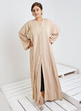 Bousni Wide Sleeve Golden Embroidered Abaya  - Fawn