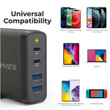 Promate USB-C Laptop Charger, Universal 4-Port Wall Charger With 60W & 18W Dual USB-C  Power Delivery Port with Dual 2.4A USB Port and Voltage Regulation