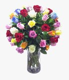 Colorful Roses In Cylinder