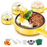 Electric Frying Pan 220V Water Heater Fryers Pot Multifunction Egg Cooker Boiler Cooking Equipment 2 in 1 Portable