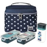 Lock & Lock Lunch Box 4Pc-Set - 1Pc Dotted Bag Blue, 2Pcs Food Container, 1Pc Water Bottle