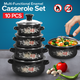 10 Pcs Assorted Colors Casserole Set With Glass Cover Lid