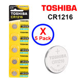 Toshiba CR1216 3V Lithium Coin Cell Battery fIVE Pack of 5 batteries