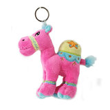 Cuddly Soft Toy Dark Pink Camel With Bright Detailed Embroidery With Key Rin,  Size 12cm