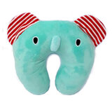 Super Soft Fabric Childs Neck Pillow With Memory Foam And Bean Interio, Green Elaphan,  Size 31cm