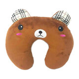 Super Soft Fabric Childs Neck Pillow With Memory Foam And Bean Interio, Brown Bea,  Size 31cm