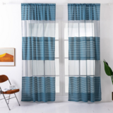 Deals For Less - Modern  Striped Tulle,  Window Sheer Curtains Set Of 2 Pieces, Blue Color.