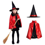 Brain Giggles Double Sided Red Witch Cape And Hat Costume Set For Play Costume