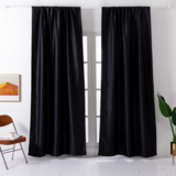 Deals For Less - Window Curtains Black  Color , Set Of 2 Pieces.