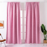 Deals For Less - Window Curtains Pink Color, Small Stars Foil Design.