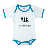 Baby Body Suit With Blue Trim, Print: V.I.B. Very Important Baby. Size: 6-12 Months