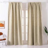 Deals For Less - Window Curtains Beige Color, Small Stars Foil Design.