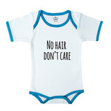 Baby Body Suit With Blue Trim, Print: No Hair Don'T Care. Size 6-12 Months
