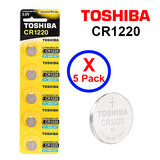 Toshiba CR1220 3V Lithium Coin Cell Battery fIVE Pack of 5 batteries