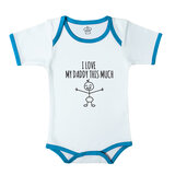 Baby Body Suit With Blue Trim, Print: I Heart My Daddy This Much. Size: 6-12 Months