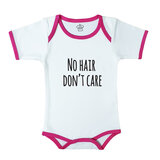 Baby Body Suit With Pink Trim, Print: No Hair Don'T Care. Size: 6-12 Months
