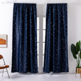 Deals For Less - Window Curtains Navy Blue Color, Small Stars Foil Design.